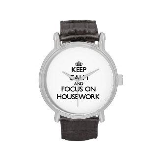 Keep Calm and focus on Housework Wrist Watch
