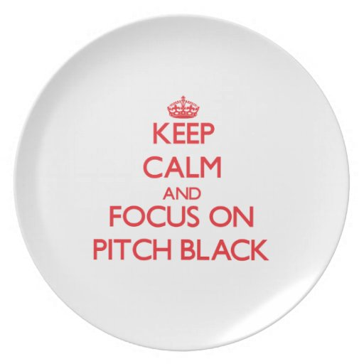 Keep Calm and focus on Pitch Black Party Plates