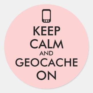 Keep Calm and Geocache On GPS Geocaching Custom Round Stickers