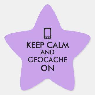 Keep Calm and Geocache On GPS Geocaching Custom Star Sticker