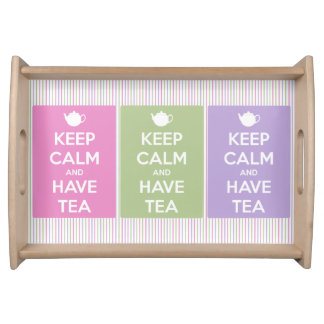Keep Calm and Have Tea Collage Serving Tray