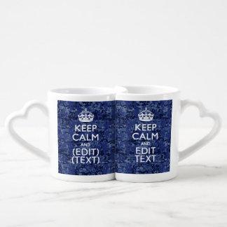 Keep Calm And Have Your Text Navy Digital Camo Coffee Mug Set