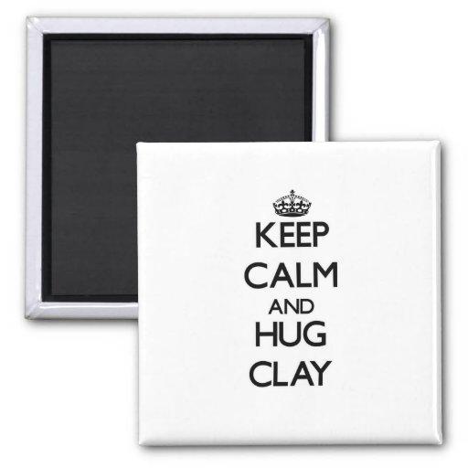 Keep Calm and Hug Clay Fridge Magnets