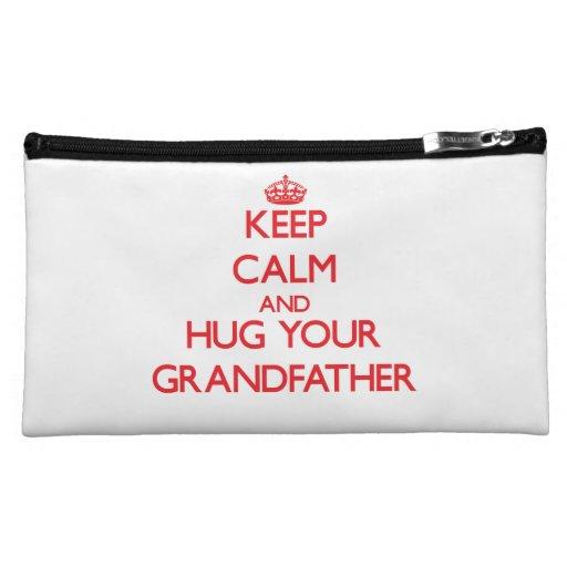 Keep Calm and HUG  your Grandfather Makeup Bags