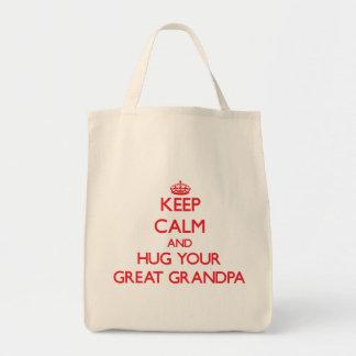 Keep Calm and HUG  your Great Grandpa Grocery Tote Bag