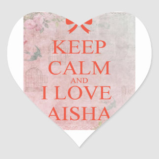 keep calm and i love aisha heart sticker