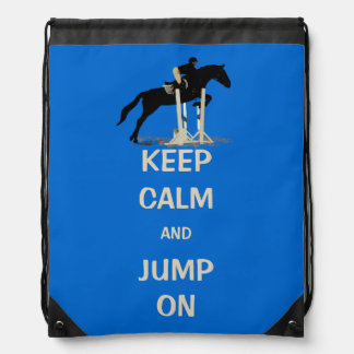 Keep Calm and Jump On Horse Drawstring Bag
