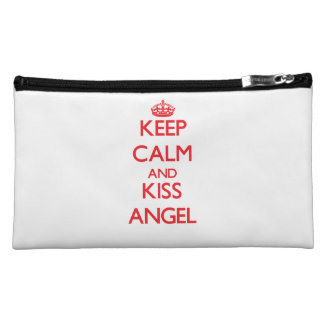 Keep Calm and kiss Angel Cosmetic Bags