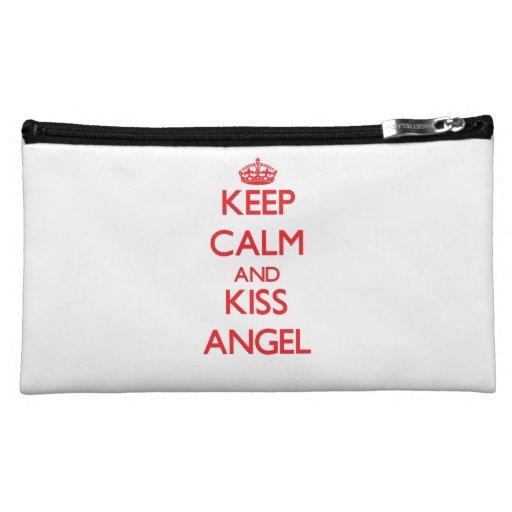 Keep Calm and kiss Angel Cosmetic Bags
