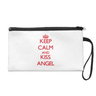 Keep Calm and kiss Angel Wristlets