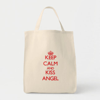 Keep Calm and kiss Angel Tote Bags