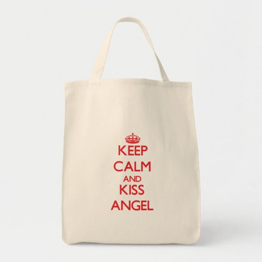 Keep Calm and kiss Angel Tote Bags