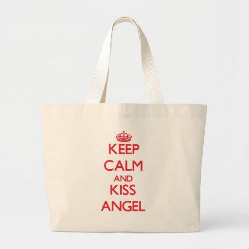 Keep Calm and kiss Angel Canvas Bags