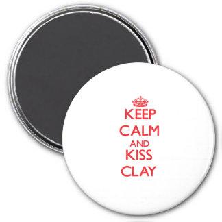 Keep Calm and Kiss Clay Fridge Magnet