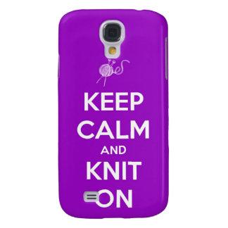 Keep Calm and Knit On Fuchsia Galaxy S4 Case