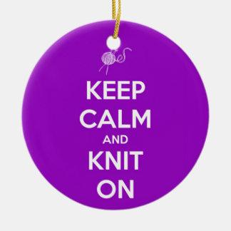 Keep Calm and Knit On Fuschia Christmas Ornament