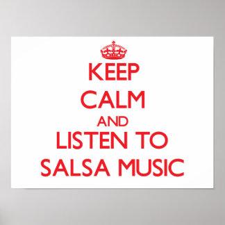Keep calm and listen to SALSA MUSIC Print
