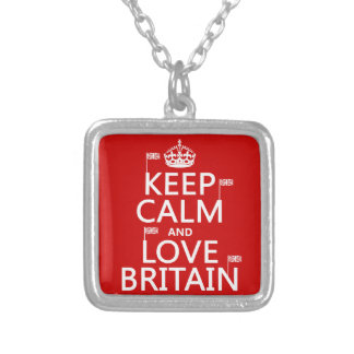 Keep Calm and Love Britain Silver Plated Necklace