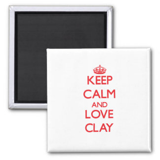Keep calm and love Clay Refrigerator Magnets