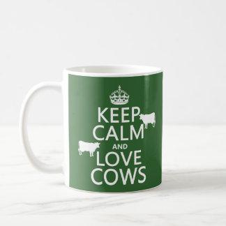 Keep Calm and Love Cows (all colours) Basic White Mug
