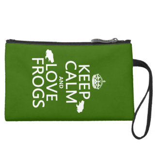 Keep Calm and Love Frogs (any background colour) Suede Wristlet