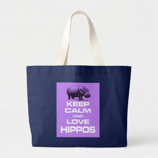 Keep Calm and Love Hippos Hippotamus Design Purple Large Tote Bag