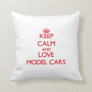 Keep calm and love Model Cars Throw Pillow