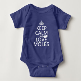 Keep Calm and Love Moles (any background color) Baby Bodysuit