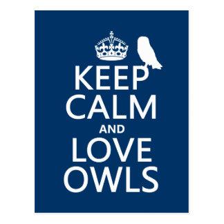 Keep Calm and Love Owls (any colour) Postcard