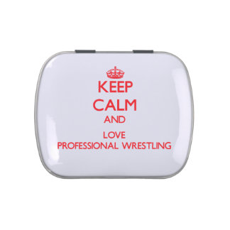 Keep calm and love Professional Wrestling Jelly Belly Candy Tins