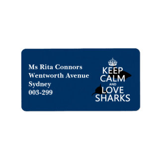 Keep Calm and Love Sharks (customisable colours) Label