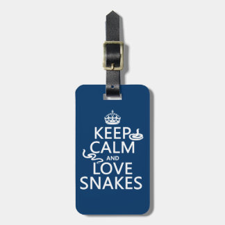 Keep Calm and Love Snakes (all colors) Luggage Tag
