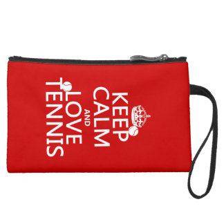 Keep Calm and Love Tennis Suede Wristlet