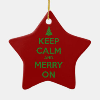 Keep Calm and Merry On Red and Green Christmas Ornament
