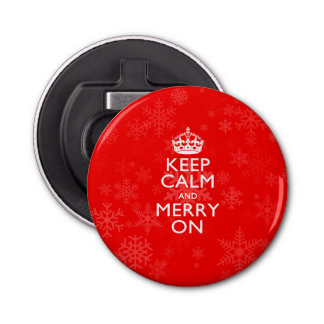 Keep Calm And Merry On Red Snowflakes Bottle Opener