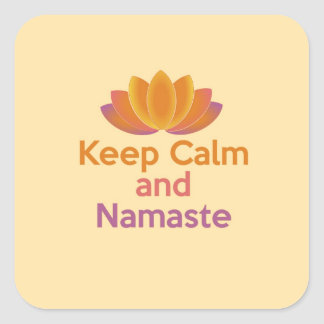 Keep Calm and Namaste - Yoga, Relax, Zen Square Sticker