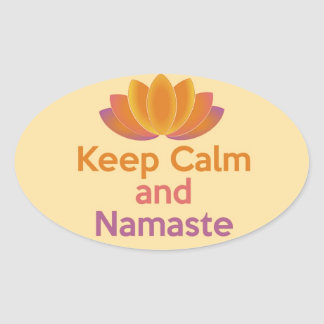 Keep Calm and Namaste - Yoga, Relax, Zen Oval Stickers