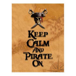 Keep Calm And Pirate On Postcard