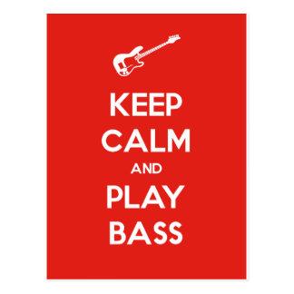 Keep Calm and Play Bass Postcard