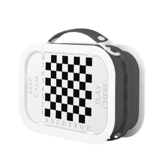 Keep Calm and Play Chess Pattern and Chessboard Lunch Box