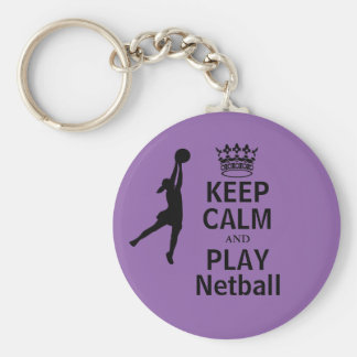 Keep Calm and Play Netball Design Basic Round Button Key Ring