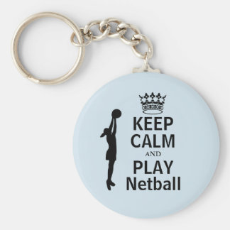Keep Calm and Play Netball Player Design Key Ring