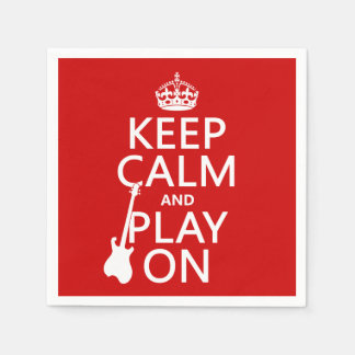 Keep Calm and Play On (guitar)(any color) Paper Serviettes