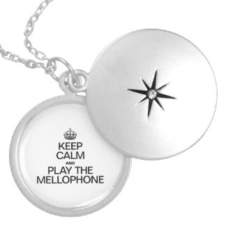 KEEP CALM AND PLAY THE MELLOPHONE SILVER PLATED NECKLACE