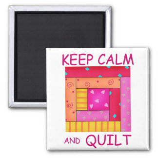 Keep Calm and Quilt Colorful Log Cabin Block Magnet