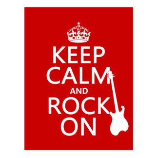 Keep Calm and Rock On (guitar)(any colour) Postcard
