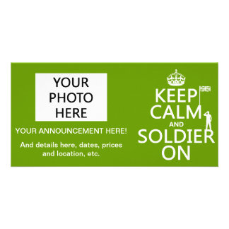 Keep Calm and Soldier On UK flag any color Photo Card Template