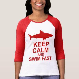 Keep Calm and Swim Fast - Shark Attack Tshirt