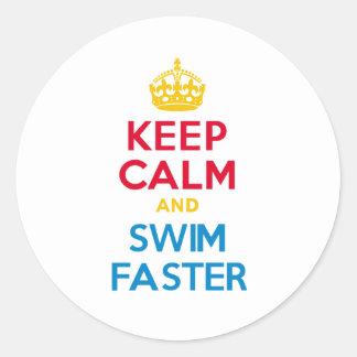 KEEP CALM and SWIM FASTER Round Sticker