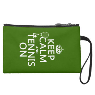 Keep Calm and Tennis On (any background color) Suede Wristlet